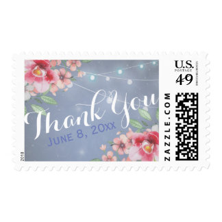 Thank You Stamp Watercolor Floral Grunge Blue