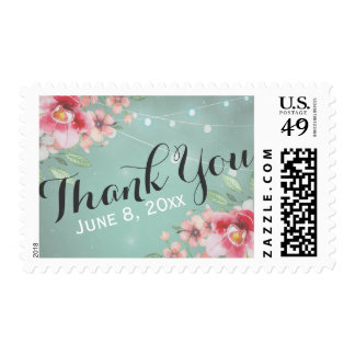 Thank You Stamp Watercolor Floral Grunge Green