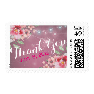 Thank You Stamp Watercolor Floral Grunge Purple