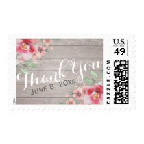Thank You Stamp Watercolor Floral Wood Texture