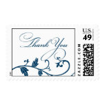 Thank You stamp with blue leaf vine