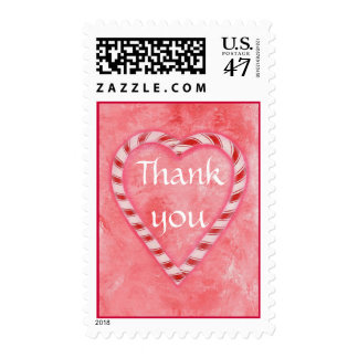 Thank you stamps, Candy Cane heart on pink Postage