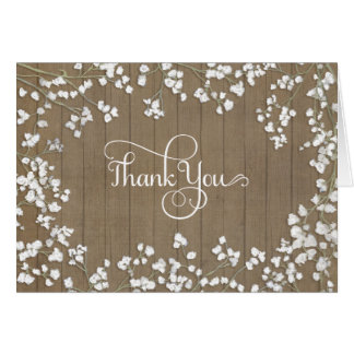 Thank You Stationery Baby's Breath Rustic Country Card