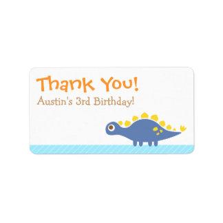 Thank You, Stegosaurus dinosaur theme party Label