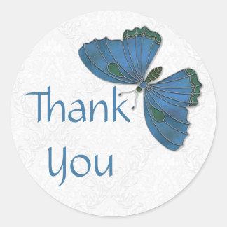 Thank You Sticker Butterfly Brocade blue