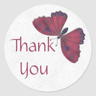 Thank You Sticker Butterfly Brocade red