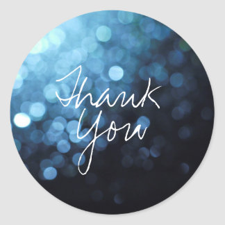 Thank You Sticker with Blue Sparkles