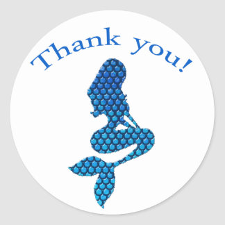 Thank you sticker with mermaid silhouette