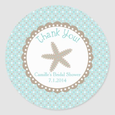 Beach Themed Thank You Sticker with Starfish in Aqua