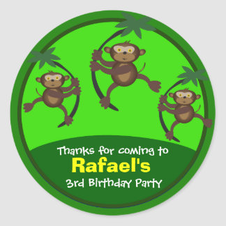 Thank You stickers: Birthday Stickers:: Monkeys Classic Round Sticker