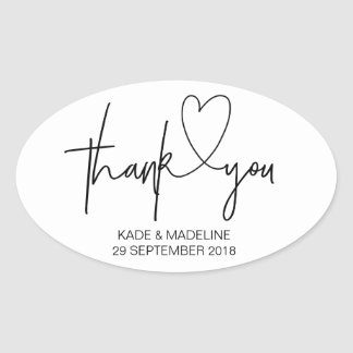 Thank You Stickers Black and White