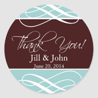 Thank You Stickers Brown Blue