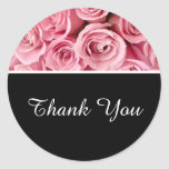 Thank You Stickers-Pink Roses Classic Round Sticker