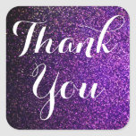 thank you stickers purple glitter