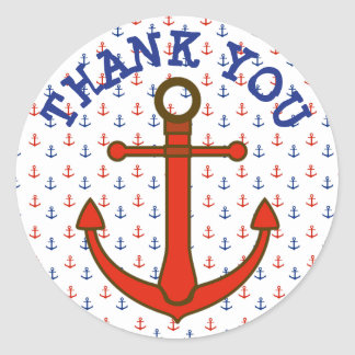 Thank You Stickers Red and Blue Anchors Stickers