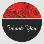 Thank You Stickers- Red Roses Classic Round Sticker