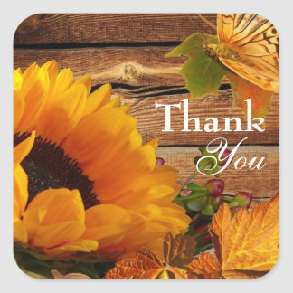 Thank You Stickers, Rustic Country Fall Sunflower Square Sticker