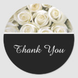 Thank You Stickers-White Roses Classic Round Sticker