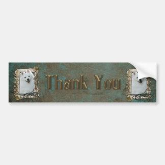 Thank You - Stone Paws - American Eskimo Bumper Sticker