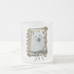 Thank You - Stone Paws - American Eskimo Frosted Glass Coffee Mug