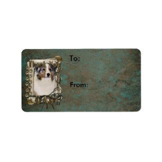 Thank You - Stone Paws - Australian Shepherd - Dad Address Label