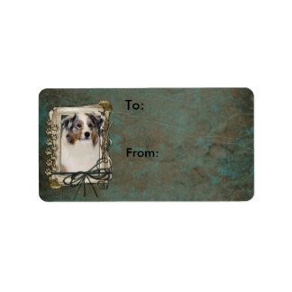 Thank You - Stone Paws - Australian Shepherd Address Label