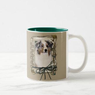 Thank You - Stone Paws - Australian Shepherd Two-Tone Coffee Mug
