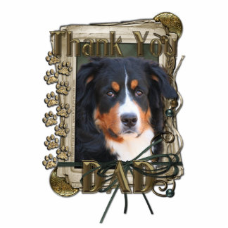 Thank You - Stone Paws - Bernese Mountain Dog- Dad Standing Photo Sculpture
