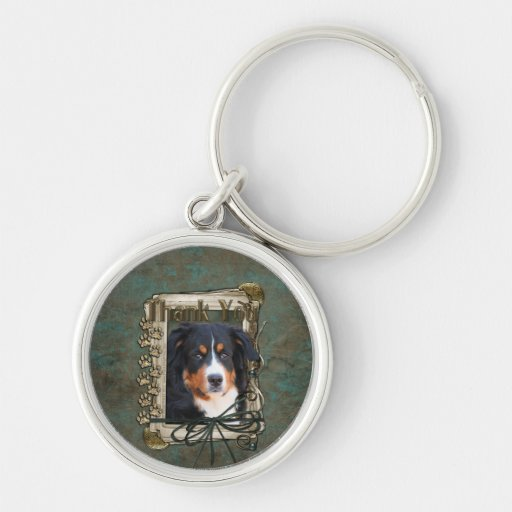 Thank You - Stone Paws - Bernese Mountain Dog Silver-Colored Round Keychain