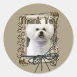 Thank You - Stone Paws - Bichon Frise Sticker