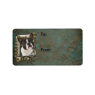 Thank You - Stone Paws - Boston Terrier - Dad Label