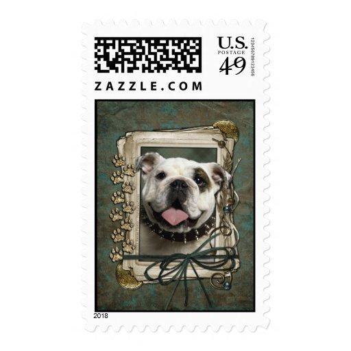 Thank You - Stone Paws - Bulldog Postage Stamp