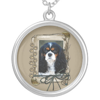 Thank You - Stone Paws - Cavalier Round Pendant Necklace