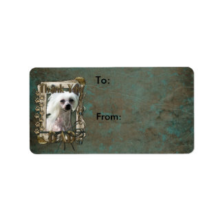 Thank You - Stone Paws - Chinese Crested Kahlo Dad Personalized Address Label