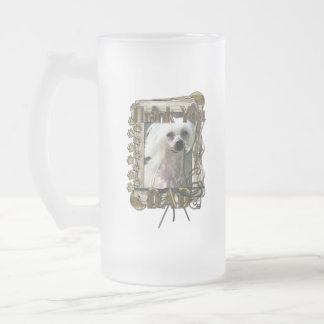 Thank You - Stone Paws - Chinese Crested Kahlo Dad 16 Oz Frosted Glass Beer Mug