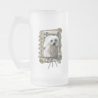 Thank You - Stone Paws - Chinese Crested - Kahlo 16 Oz Frosted Glass Beer Mug