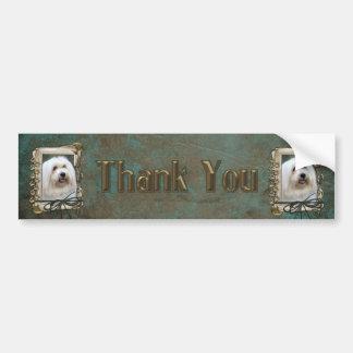 Thank You - Stone Paws - Coton de Tulear Bumper Sticker