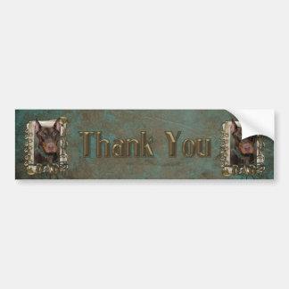 Thank You - Stone Paws - Doberman - Red -Rocky Dad Bumper Sticker