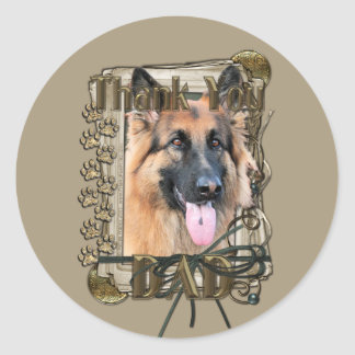 Thank You - Stone Paws -German Shepherd Chance Dad Classic Round Sticker