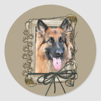 Thank You - Stone Paws - German Shepherd - Chance Classic Round Sticker