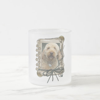 Thank You - Stone Paws - GoldenDoodle Frosted Glass Coffee Mug