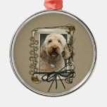 Thank You - Stone Paws - GoldenDoodle Round Metal Christmas Ornament