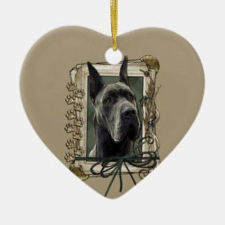 Thank You - Stone Paws - Great Dane - Grey Ceramic Ornament