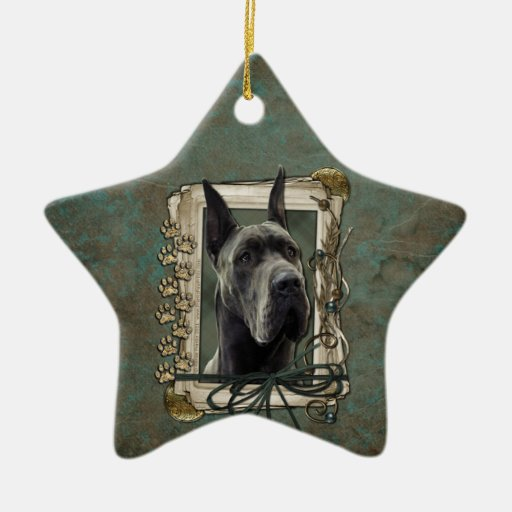 Thank You - Stone Paws - Great Dane - Grey Ornament