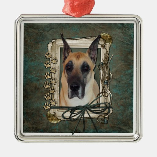 Thank You - Stone Paws - Great Dane Square Metal Christmas Ornament