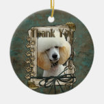Thank You - Stone Paws - Poodle - Apricot Double-Sided Ceramic Round Christmas Ornament