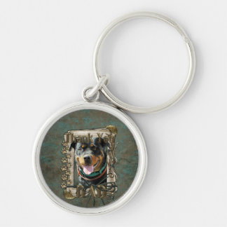 Thank You - Stone Paws - Rottweiler SambaParTi Dad Silver-Colored Round Keychain