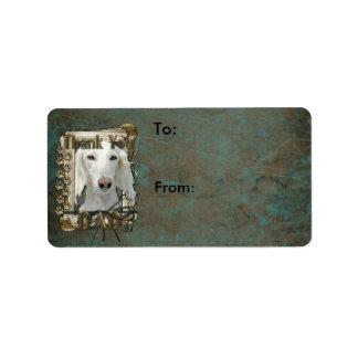 Thank You - Stone Paws - Saluki - Dad Personalized Address Labels