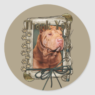 Thank You - Stone Paws - Shar Pei - Lucky Classic Round Sticker