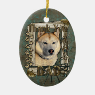 Thank You - Stone Paws - Siberian Husky Copper Dad Christmas Ornament